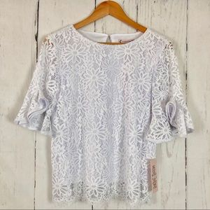 NWT Nanette Lepore White Lace Spring Fling Top XS